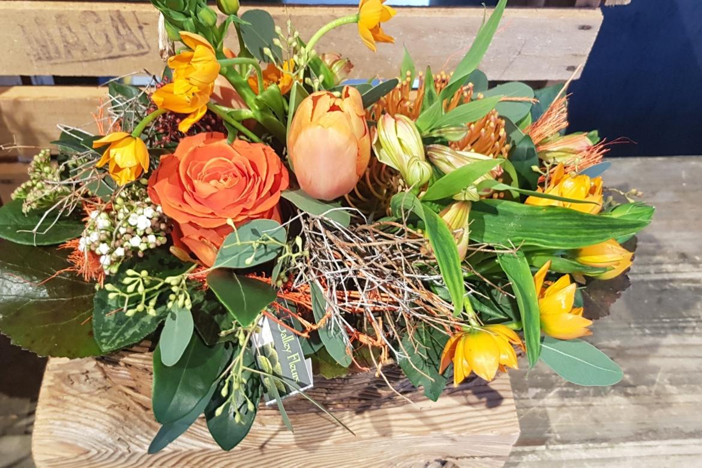 Arrangement floral allongé